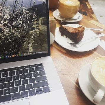 Working from Cafes often leads to inevitable cake consumption..